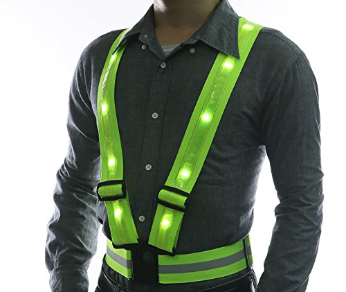 LED Reflective Safety Vest by Glowseen-USB Rechargeable-High Visibility with Reflective Stripes for Outdoor Activities Vest-Green ()