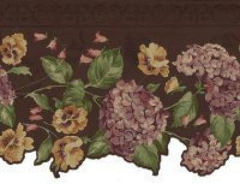 Waverly 5507333 Floral Scalloped Wallpaper Border, Dark Purple (Dark Purple Wallpaper)