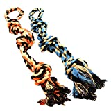 Dog Toys - Set of 2 Heavy Duty XL Dog Rope Toy for Large Breed Puppy & Medium and Large Dogs for Chewing, Teething, Tug of War & Aggressive Chewers