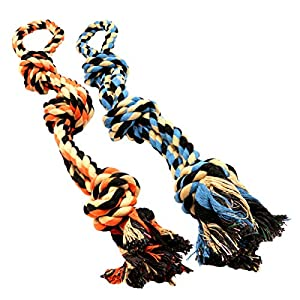 BK PRODUCTS LLC Dog Toys for Aggressive Chewers - Set of 2 Heavy Duty XL Dog Rope Toy for Large Breed Puppy - Medium and Large Dogs for Chewing, Teething, Tug of War 50
