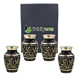 Classic Radiance Brass Keepsakes Set of 4 - Elite Black & Gold Keepsake Urns - Engraved Majestic Radiance Token Urns - Handcrafted and Affordable Mini Urns for Ashes