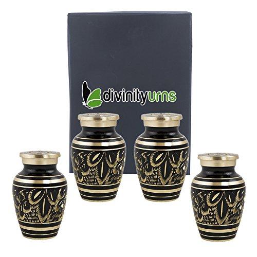 Majestic Urn - Classic Radiance Brass Keepsakes Set of 4 - Elite Black & Gold Keepsake Urns - Engraved Majestic Radiance Token Urns - Handcrafted and Affordable Mini Urns for Ashes