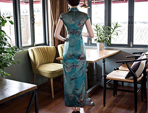 Luck Femme Robe Longue Chinoise Traditionnelle Cheongsam Elégante Motif Fleur et Branche Polyester