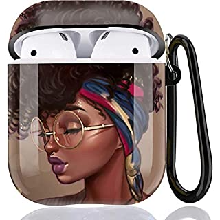 Black Girl Airpods Case - LitoDream African American Airpods Accessories Protective Hard Case Cover Portable & Shockproof Women Girls with Keychain for Airpods 2/1 Charging Case - Glasses