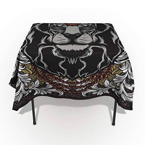- King Tablecloths for Rectangle 60 x 84-inch Table Cover, Cotton Linen Fabric Table Cloth for Dining Room Kitchen, Forest Jungle Emperor Safari Animal Lion with Medieval Design Frame,
