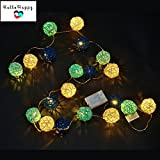Blue, 2M 20 LED : 2M 20 Rattan LED Garland Battery Powered Thai Lanterns For Holiday Bedroom Indoor Decoration String Lights Kids Baby Light Chain