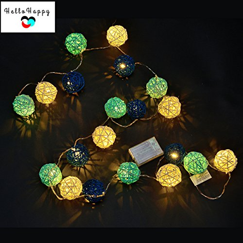 Blue, 2M 20 LED : 2M 20 Rattan LED Garland Battery Powered Thai Lanterns For Holiday Bedroom Indoor Decoration String Lights Kids Baby Light Chain by Generic