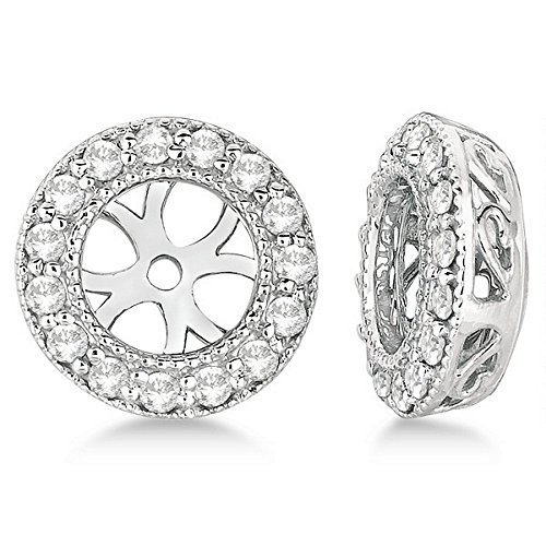 Vintage Round Cut Diamond Earring Jackets 14k White Gold (0.27ct) by Allurez