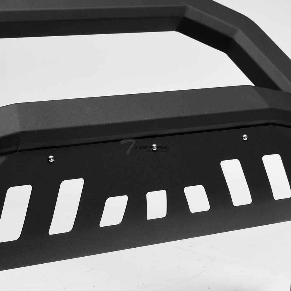 Topline Autopart Matte Black AVT Style Bull Bar Brush Push Front Bumper Grill Grille Guard With Skid Plate For 07-18 Chevy Silverado Tahoe Suburban Avalanche//GMC Sierra Yukon 1500//07-14 Escalade