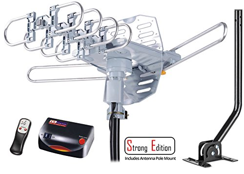 tenna Amplified Digital Outdoor Antenna with Mounting Pole-150 Miles Range-360 Degree Rotation Wireless Remote-Snap-On Installation Support 2 TVs ()