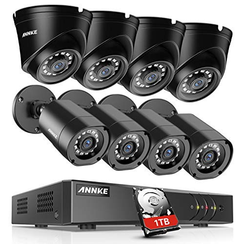 ANNKE 8CH Security System 1080N DVR Recorder with 1TB HDD and (8) 1080P Weatherproof Camera with Super Night Vision, QR Code Scan, Plug & Play, HDMI Output