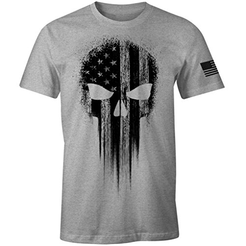 USA Military American Flag Black Skull Patriotic Men's T Shirt (Heather Grey, 3XL)