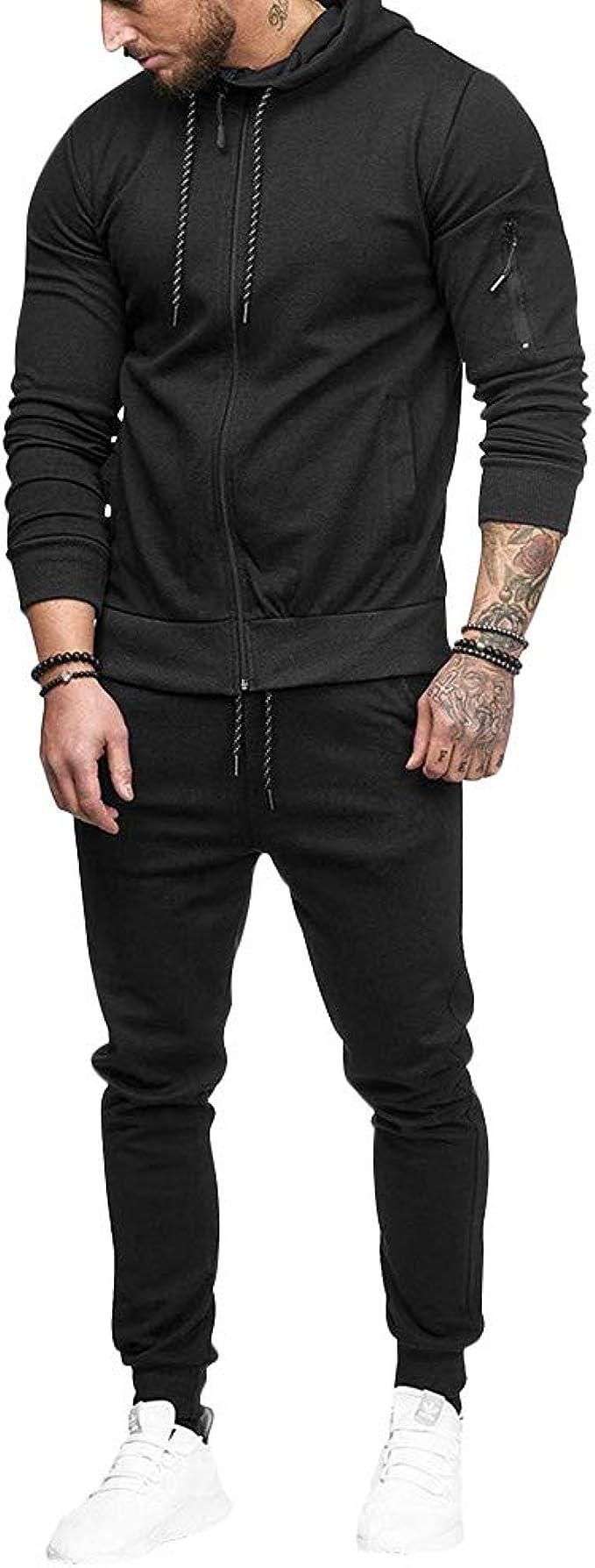 2PCS Mens Tracksuit Set Hoodies Sweatshirt Pants Bottoms Fitness Jogging Suit UK