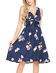 Se Miu Womens Floral Print Sleeveless V Neck Pleated Party Cocktail Swing Dress Navy Blue