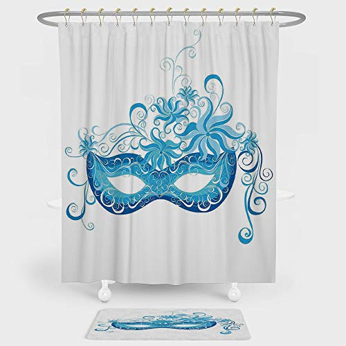 iPrint Masquerade Shower Curtain And Floor Mat Combination Set Venetian Style Mask Majestic Impersonating Enjoying Halloween Night Theme For decoration and daily use Blue and Sky Blue ()