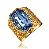 Vintage Blue CZ Jewelry Birthday Proposal Gift Bridal Engagement Party Band Rings