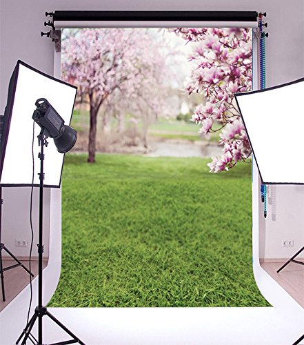 (Laeacco 3x5ft Vinyl Photography Backdrop Spring Magnolia Blossoms Nature Outdoor Blooming Flowers Green Grassland Hiking Wedding Photo Background Children Portraits Cherry Valentine Lovers)