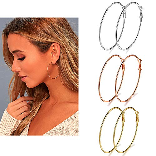 3 Pairs Big Hoop Earrings, 45mm Stainless Steel Hoop Earrings in Gold Plated Rose Gold Plated Silver for Women Girls (45mm)