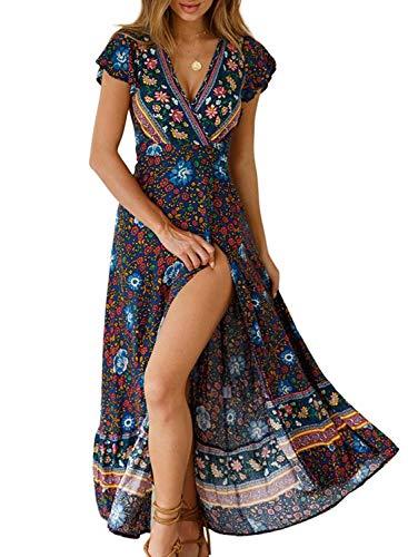 - Womens Plus Size Boho Dresses Floral Maxi Wrap V Neck Split Casual Summer Beach Long Dress Black