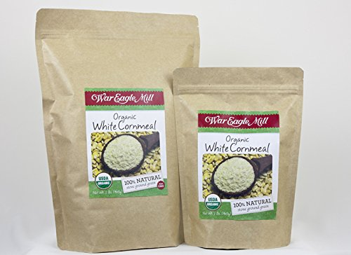 War Eagle Mill Organic White Cornmeal in a resealable bag (2 (Organic White Corn)