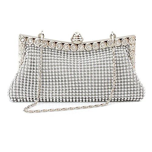 Girls Bag Crystal Silver Evening Rhinestone Bags Handbag Evening Clutch Wedding Sparkly Bag Purse FY5nxHCq