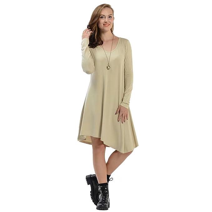 82ea571648 Luyomy Women's Fall Casual Long Sleeve Loose Plain Simple T-Shirt V-Neck  Swing