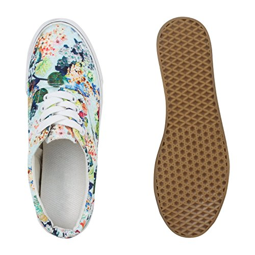Stiefelparadies Damen Sneakers Blumen Prints Stoffschuhe Schnürschuhe Flandell Hellblau Blumenmuster