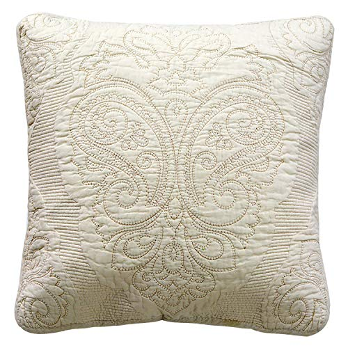 Quilted Decorative Pillow - Brandream Quilted Throw Pillow Cover 18 X 18 Decorative Pillow Case Farmhouse Throw Pillow Covers for Bed Couch Beige Paisley Embroidery