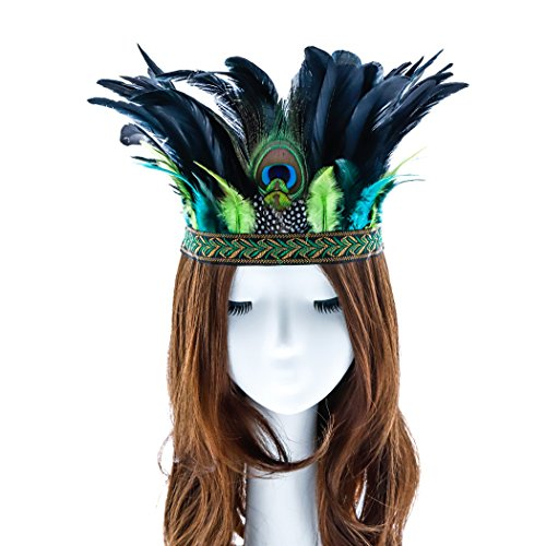 Aukmla Peacock Indian Feather Fascinator Decorative Feather Headpiece Native Crown Headdress Costume Headband for Fancy Party