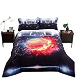 Lebather Black 3D Flying Basketball Background Print Cotton NBA Sport Bedding Duvet Cover Set with 2 Pillow Sham,1 Flat Sheet,1 Duvet Cover,Full Size