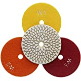 Easy Light 4 Inch 3-Step Flexible Wet Diamond Polishing Pads for Granite Marble 3 Pcs Set