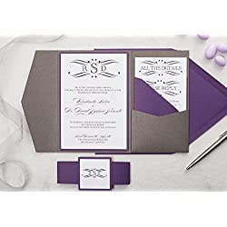 Personalized Monogram Wedding Invitations in Pocketfolder, Classic Wedding Cards, Rosie Sample