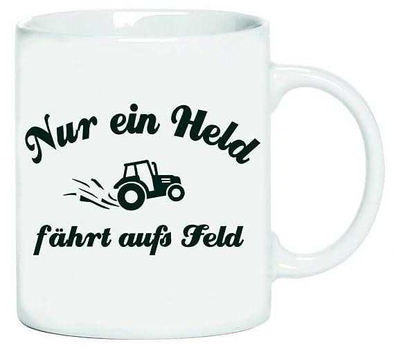 Solo un Héroe fährt aufs Feld. Agricultor. Tractor conductores. Coole-Fun-T-Shirts Taza Blanco taza de café: Amazon.es: Hogar