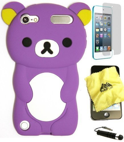 BUKIT CELL (TM) PURPLE Bear 3D Cartoon Soft Silicone Skin Case Cover for IPOD TOUCH 5 5G 5TH GENERATION + BUKIT CELL Trademark Lint Cleaning Cloth + Screen Protector + WirelessGeeks247 METALLIC Touch Screen STYLUS PEN with Anti Dust Plug [bundle - 4 items: case, cloth, stylus pen and screen protector]