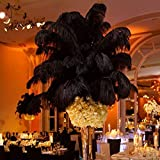 12-14'' (30~35cm) Real Natural Ostrich Feathers Great Wedding Christmas Halloween House Decorations Black (100)