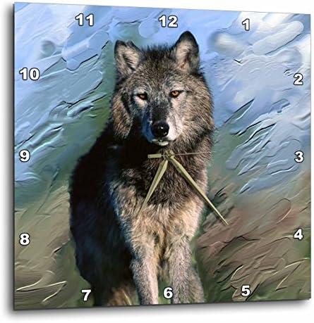 3dRose DPP_3938_3 Wolf Wall Clock