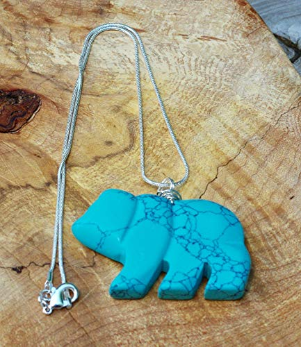 Turquoise Howlite Carved Stone Bear Pendant Necklace