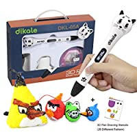 3D Pen - Dikale 05A【Newest Design】3D Doodler Drawing Printing Printer Pen Bonus 250 Stencils eBooks for Kids Adults Arts Crafts Model DIY, Non-Clogging