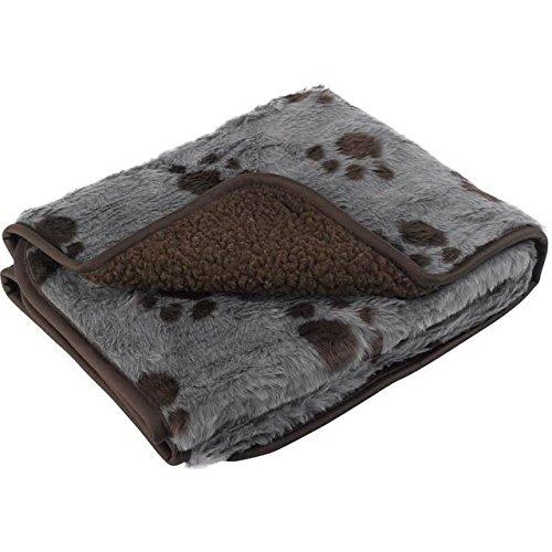 Petface Sherpa Printed Fleece Comforter Grey and Chocolate Brown
