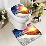 SOCOMIMI Non Slip Bath Shower Rug Sunshine Clouds Nature Mountain and Valley Sun Divider in College Landscape Home White Custom Made Rug Set