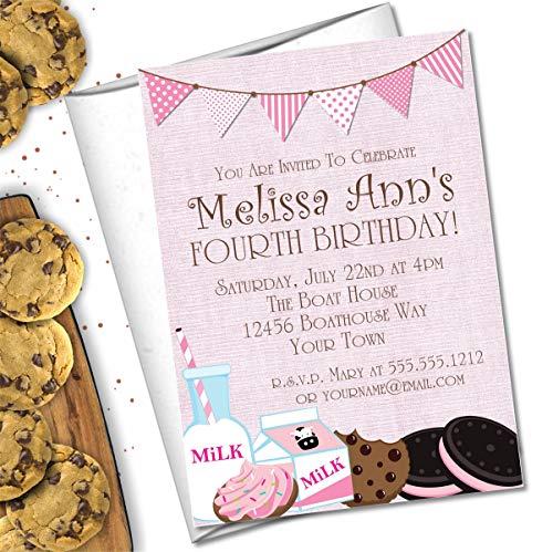 - Milk & Cookies Birthday Party Invitations