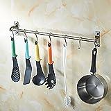 Wall Mounted Pan Pot Rack Kitchen Bathroom Utensils Hanger Organizer Lid Holder Stainless Steel,24 inch bar+10 Hooks
