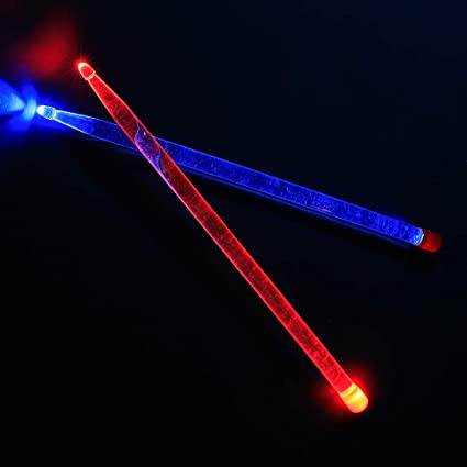 Durable Acrylic Bright Led Light Up Drumsticks Red And Blue Light Cool Stage Performance Sticks Transparent Amazon Co Uk Musical Instruments