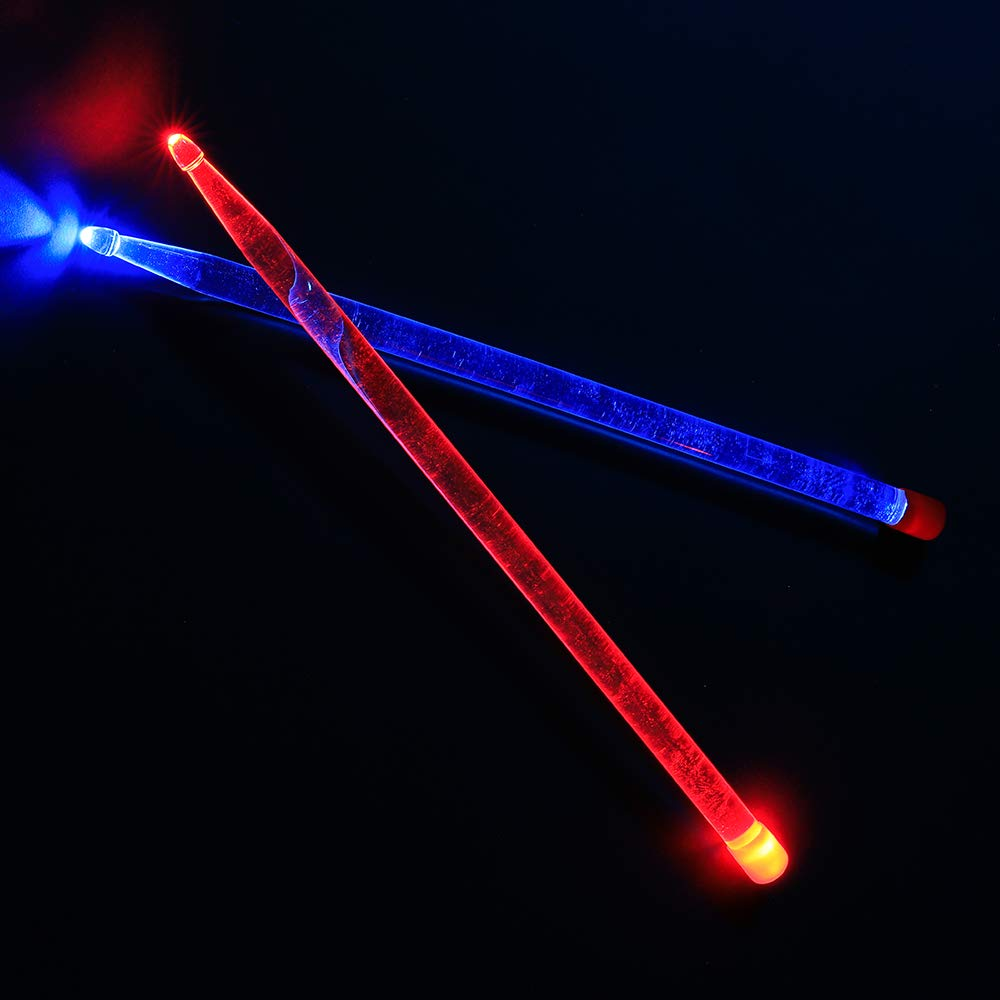Durable Acrylic Bright LED Light up Drumsticks, Red and Blue Light Cool Stage Performance Sticks (Transparent) Eno Music Co. LTD.