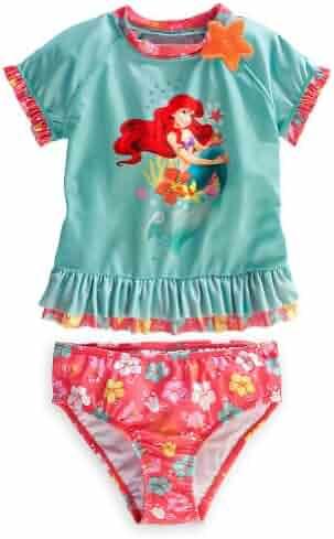b08fb685cd Disney Store Ariel The Little Mermaid Rash Guard Swimsuit Size XS 4 (4T)