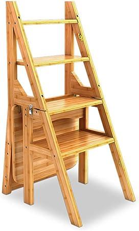 MXZBHPedal Plegable Escalera de Madera, Escalera 4 Pasos Conversión Taburete Plegable Silla Trasera Taburete Alto Herramientas de jardinería doméstica: Amazon.es: Hogar
