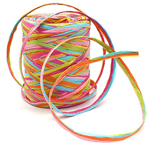 80 M/262 Feet Paper Ribbon,6 Colors Raffia Paper String Packing Twine for Festival Gifts,DIY Decoration and Weaving