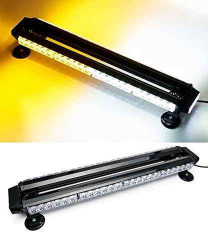 VSEK 26.5 Amber/White 54 LED Traffic Advisor Double Side Emergency Warning Flash Strobe Light with Magnetic Base