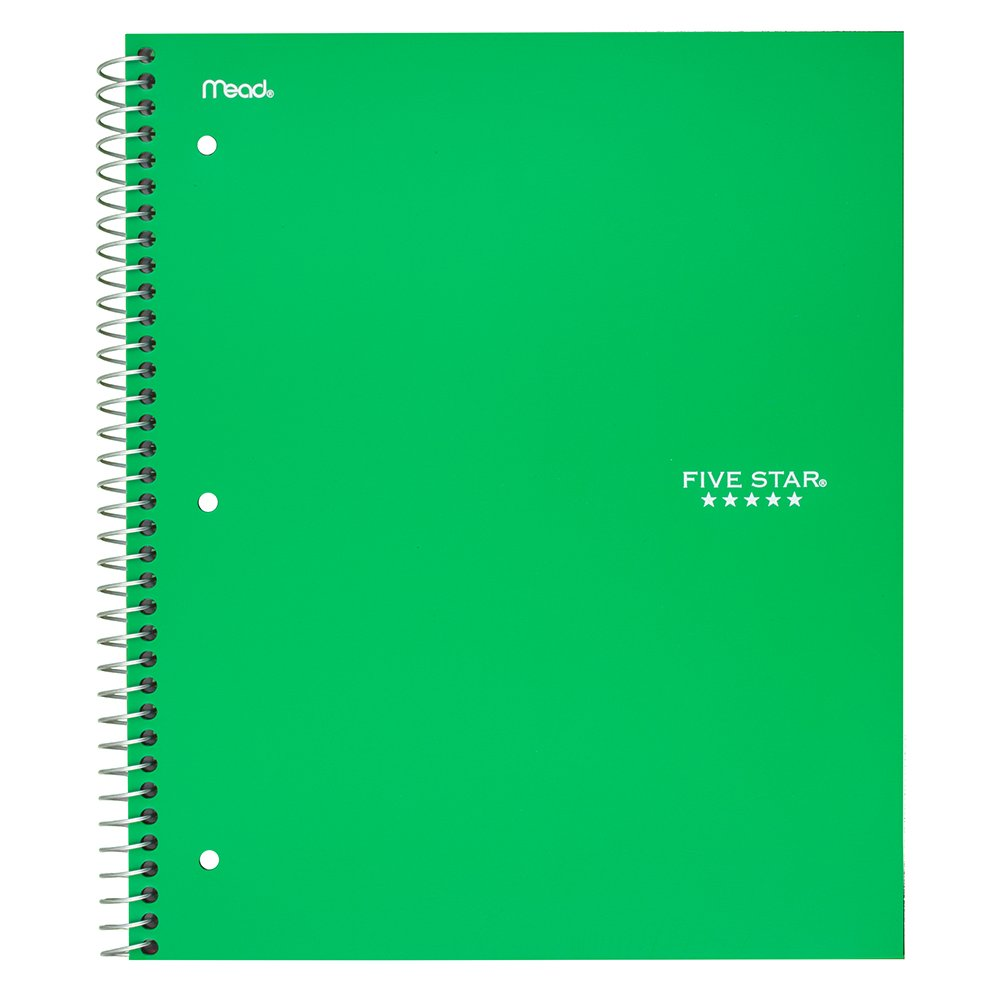 Five Star Spiral Notebook 100 Sheets 11 x 8-1//2 1 Subject College Ruled Paper Green 72055