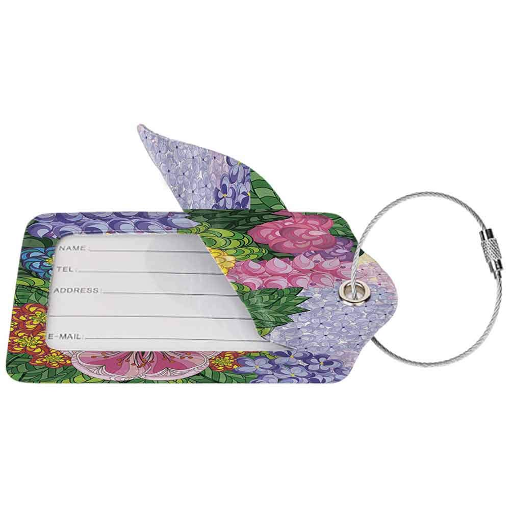 Multicolor luggage tag Colorful Decor Nature Flower Petals Florets Vintage Romantic Buds Summer Blooms Feminine Hanging on the suitcase Lilac Green W2.7 x L4.6